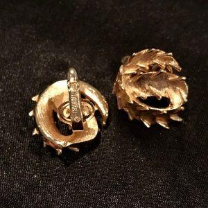 Vintage TRIFARI Gold Clip-On Earrings Spikes